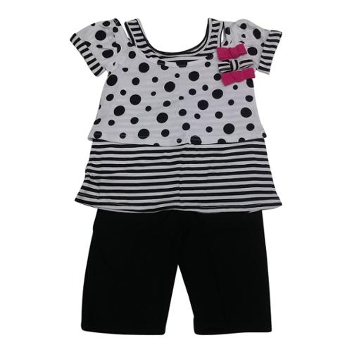 American Character Baby Girls Black White Dot Stripe 2Pc Capri Set 18M