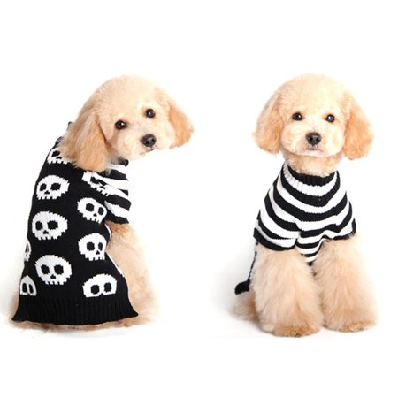 Pet Dog Halloween Knitted Skull Sweater Clothes Puppy Cat Winter Warm Knitwear Costume Cosplay Hooded Coat for Small Dog](Halloween Puppy Faces)
