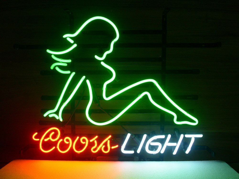 Desung Brand New Coors Light Mud Flap Girl Neon Sign Lamp Glass Beer Bar Pub Man Cave Sports Store Shop Wall Decor Neon Light 20 X 16 Wm35