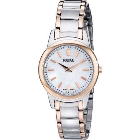 Womens Brass Case Stainless Steel Bracelet Mother of Pearl Dial Two-tone Watch - PRW016 ()