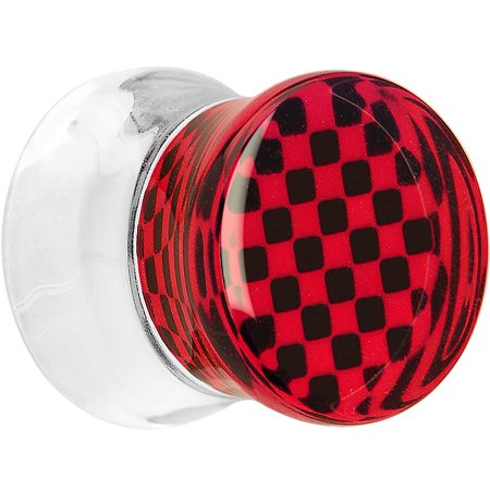 Body Candy Clear Acrylic Red and Black Checker Inlay Saddle Plug (1 Piece) 00 - Red And Black Candy