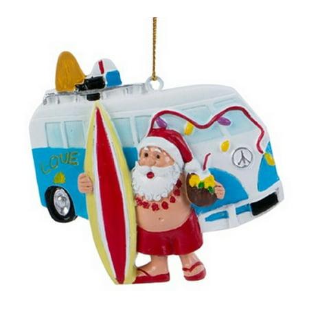 Santa with Surfing Van Ornament ()