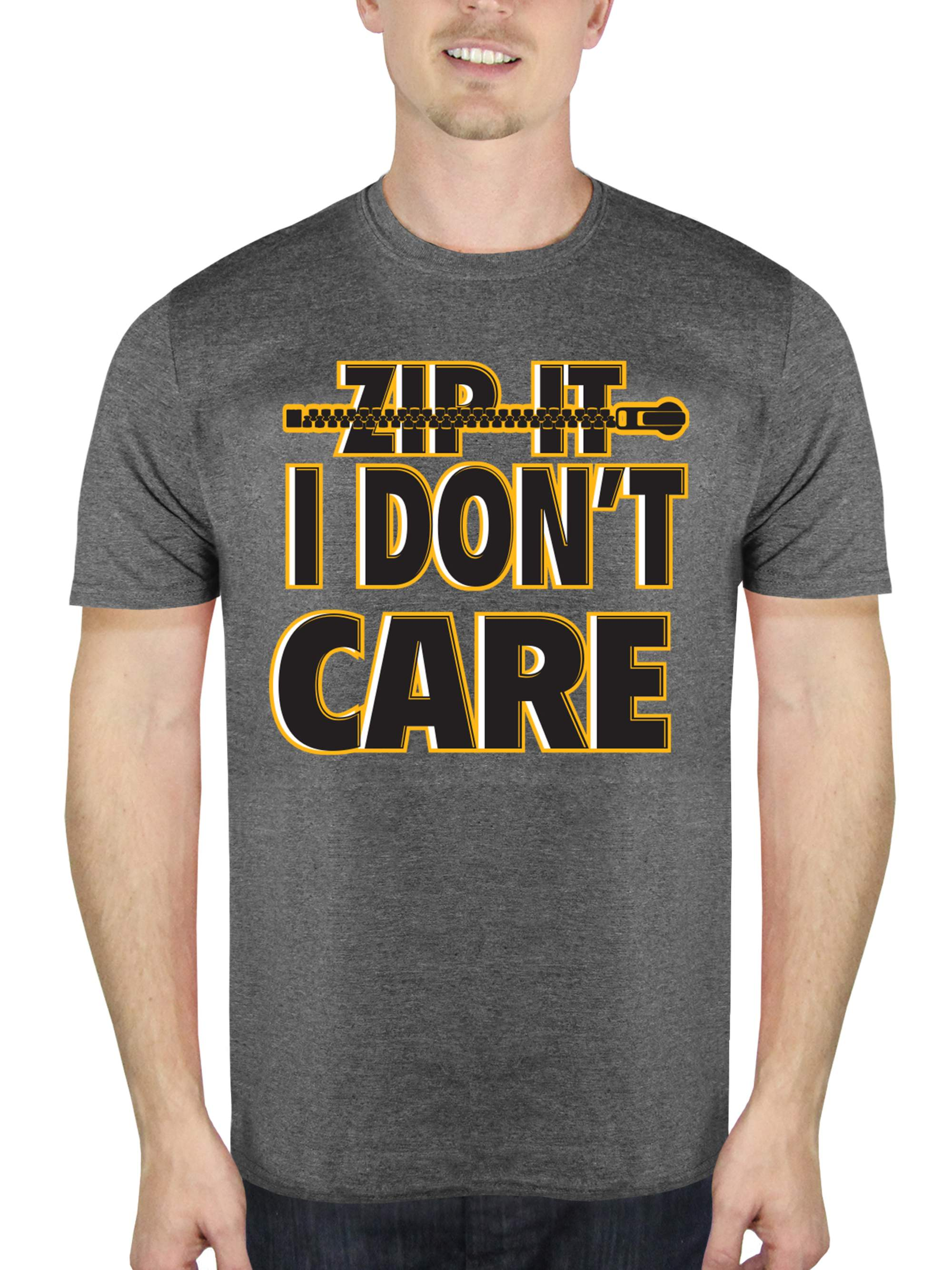 Zip It I Don't Care Attitude Funny Big Men's Graphic Charcoal T-Shirt