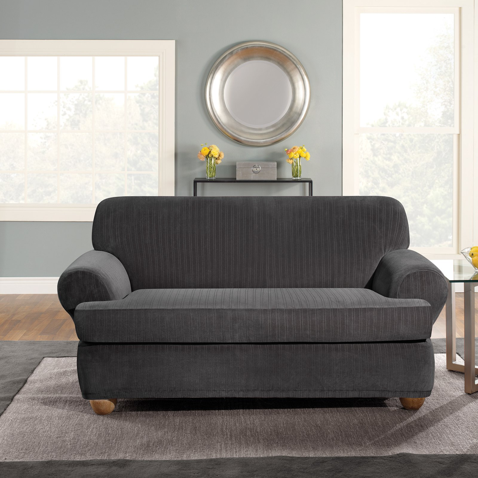 Surefit Stretch Pinstripe 2-Piece T-Cushion Loveseat Slipcover, Black