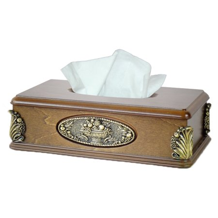 - Classic Wood Tissue Box Holder with Gold Plaque