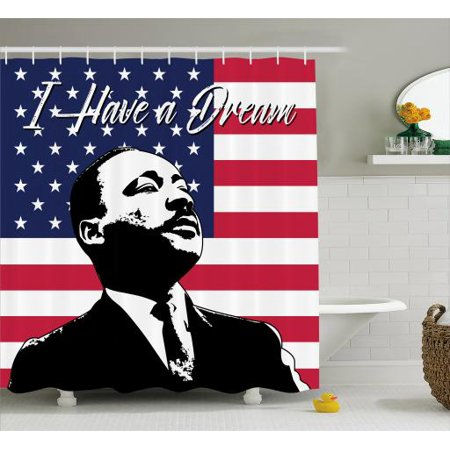 Americana Shower Curtain Black And White Martin Luther King Portrait United States Flag Famous