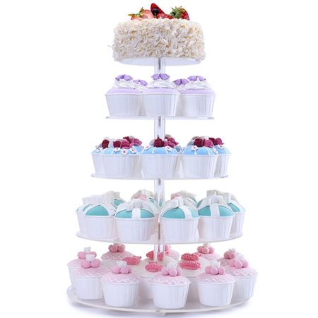 5 Tiers Round Acrylic Pastry Wedding Cupcake Stands Tower Tree-Cupcake Carrier-Clear Tiered Cake Stand Round Dessert Stands-Cupcake Display - Macaron Tower Stand