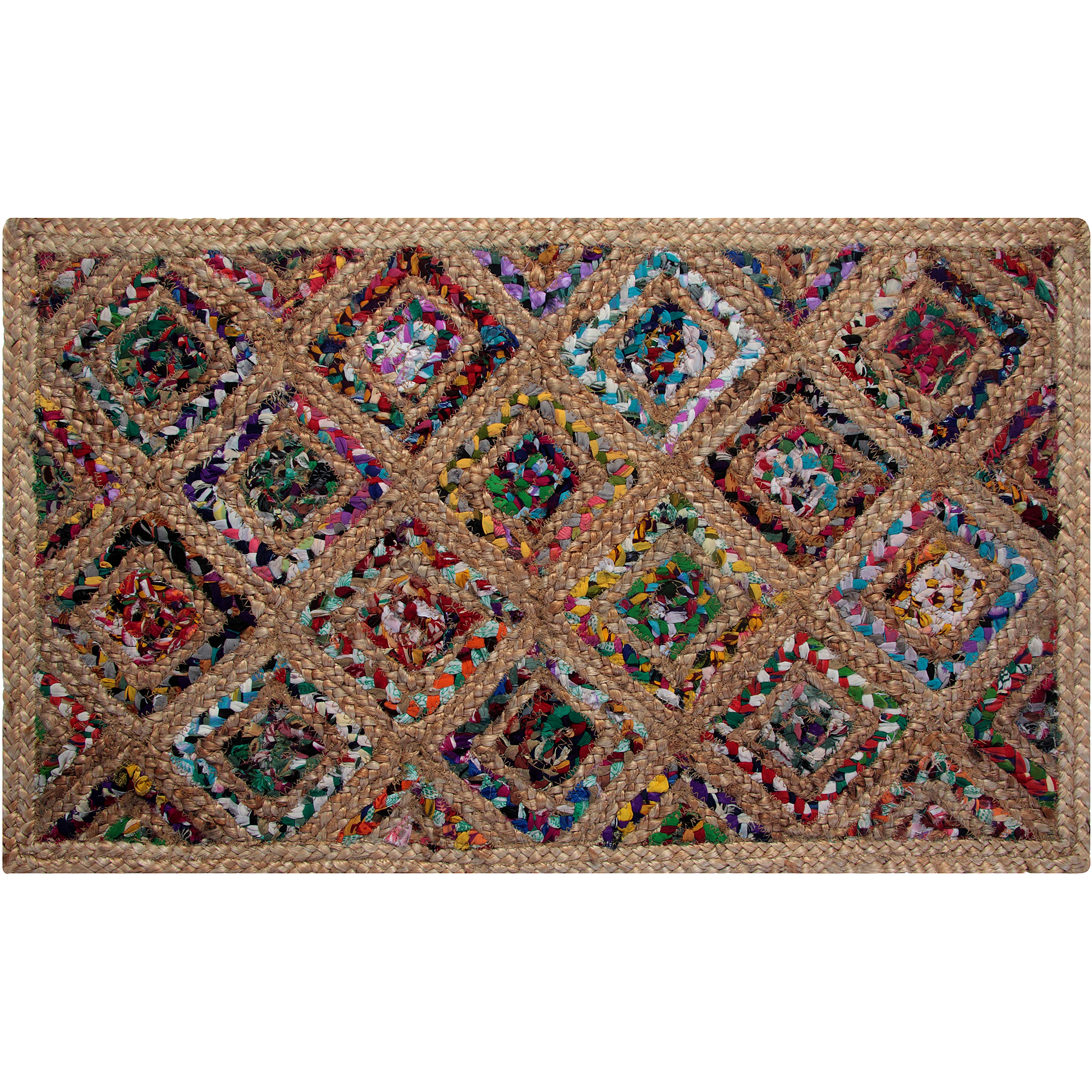 Diamond Natural Hemp and Dyed Chindi Braided Rug, Multi-Color, 3' x 5'