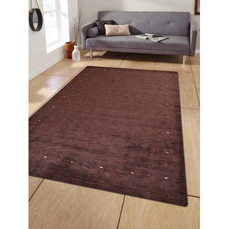 Rugsotic Carpets Hand Knotted Gabbeh Wool 3'x5' Area Rug Contemporary Brown L00102