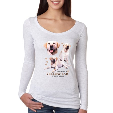 If It's Not a Yellow Lab It's Just a Dog Gift   Womens Dog Lover Scoop Long Sleeve Top, Heather White, Small