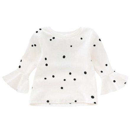 2017 Cream Children Clothes For Baby Kids Tops Long Sleeve Girls T Shirt Cotton Dot Children's T-shirts Baby Girl Clothes