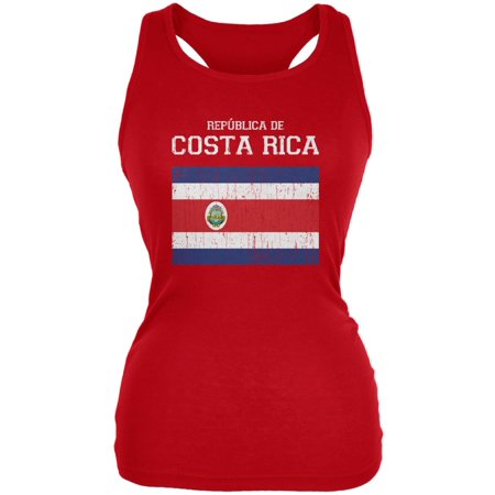 Fiesta De Halloween Costa Rica (World Cup Distressed Flag Republica de Costa Rica Red Juniors Soft Tank)