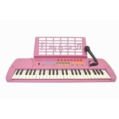 Directly Cheap Keyboard 49-Key Student Electronic Digital Piano with Microphone, Notes Holder and AC Adapter, Pink