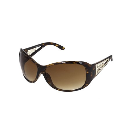 Brown Gray Lens Sunglasses (Leopard Print Plastic Frame Clear Brown Lens Sunglasses Gift for Lady)