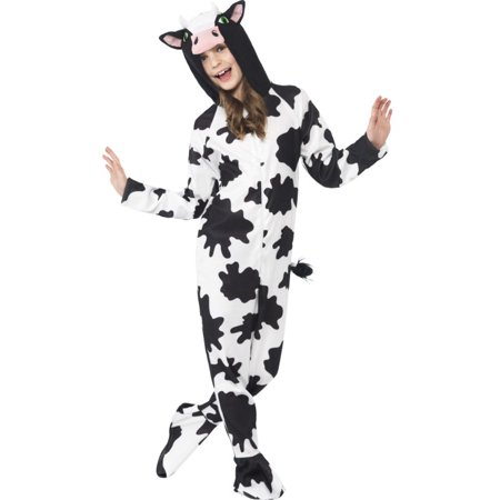 Girls All In One Farm Animal Cow Zip Up Footie Costume With Hood Costume (State Farm Costume)