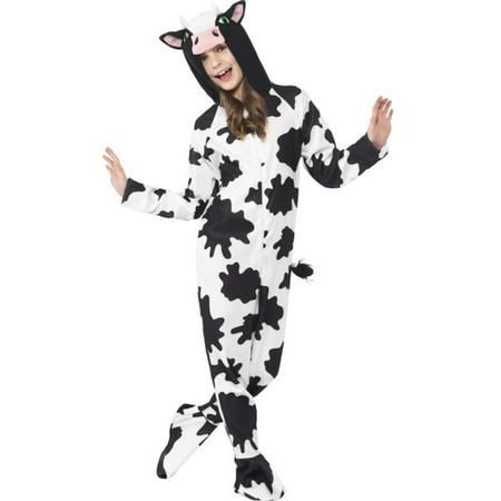 Girls All In One Farm Animal Cow Zip Up Footie Costume With Hood Costume](Farm Animal Costumes)