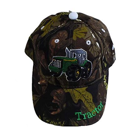 R&M Headwear Children's Embroidered Tractor Baseball Hat/Cap (Camo)