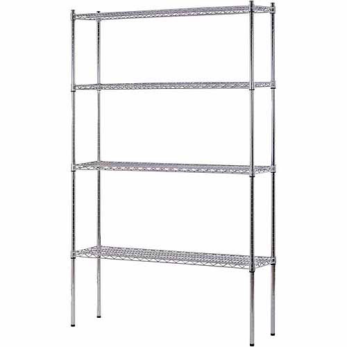 "Muscle Rack 4-Shelf 48""W x 74""H x 12""D Heavy Duty Chrome Wire Shelving Unit"