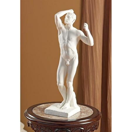 Design Toscano The Bronze Age Nude Male Statue (1877) by artist Auguste Rodin (1840-1917)