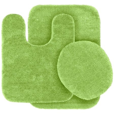 3 pc lime green bathroom set bath mat rug contour and toilet lid cover