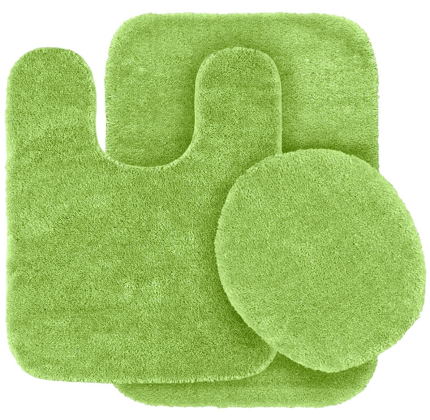 3 Pc LIME GREEN Bathroom Set Bath Mat RUG, Contour, And Toilet Lid Cover