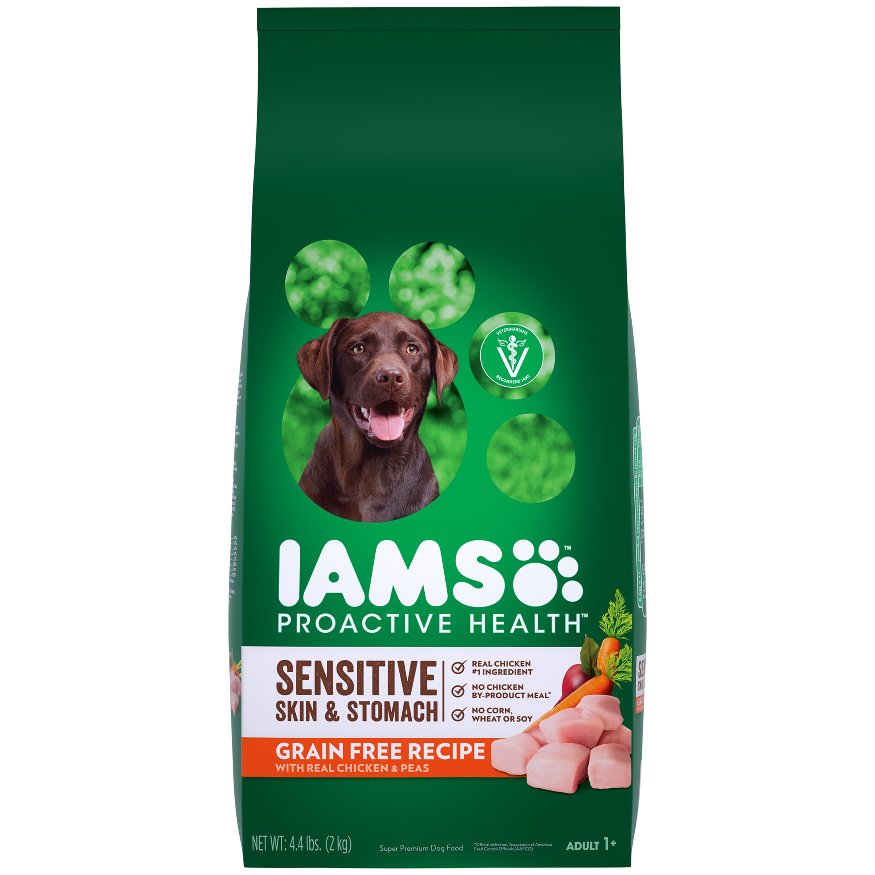 Iams Proactive Health Dry Dog Food, Sensitive Skin And Stomach Grain-Free With Real Chicken And Peas, 4.4 Lb