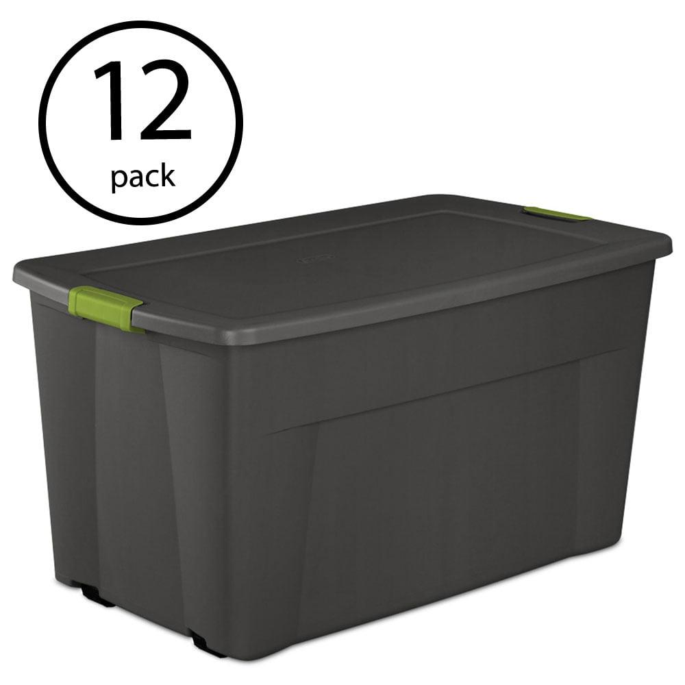 Sterilite 45 Gallon Wheeled Portable Latching Storage Tote Box, Gray (12 Pack)