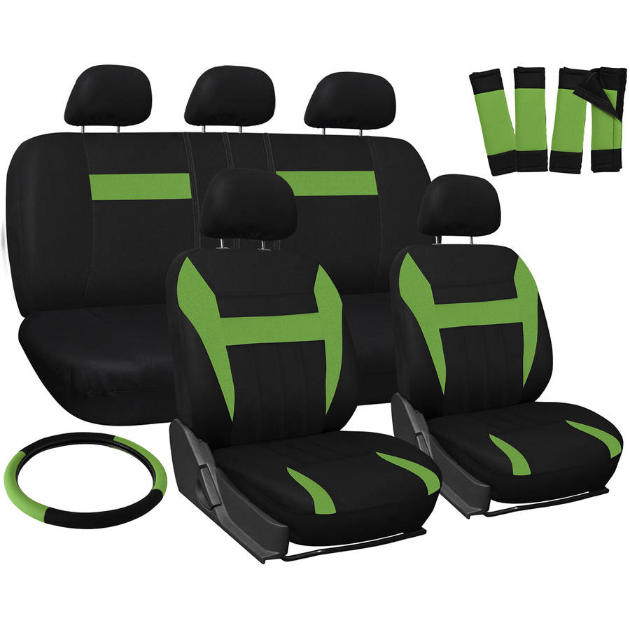 Oxgord 17-Piece Set Flat Cloth Mesh/Auto Seat Covers Set, Airbag Compatible, Front Low Back Buckets, 50/50 or 60/40 Rear Split Bench, Universal Fit