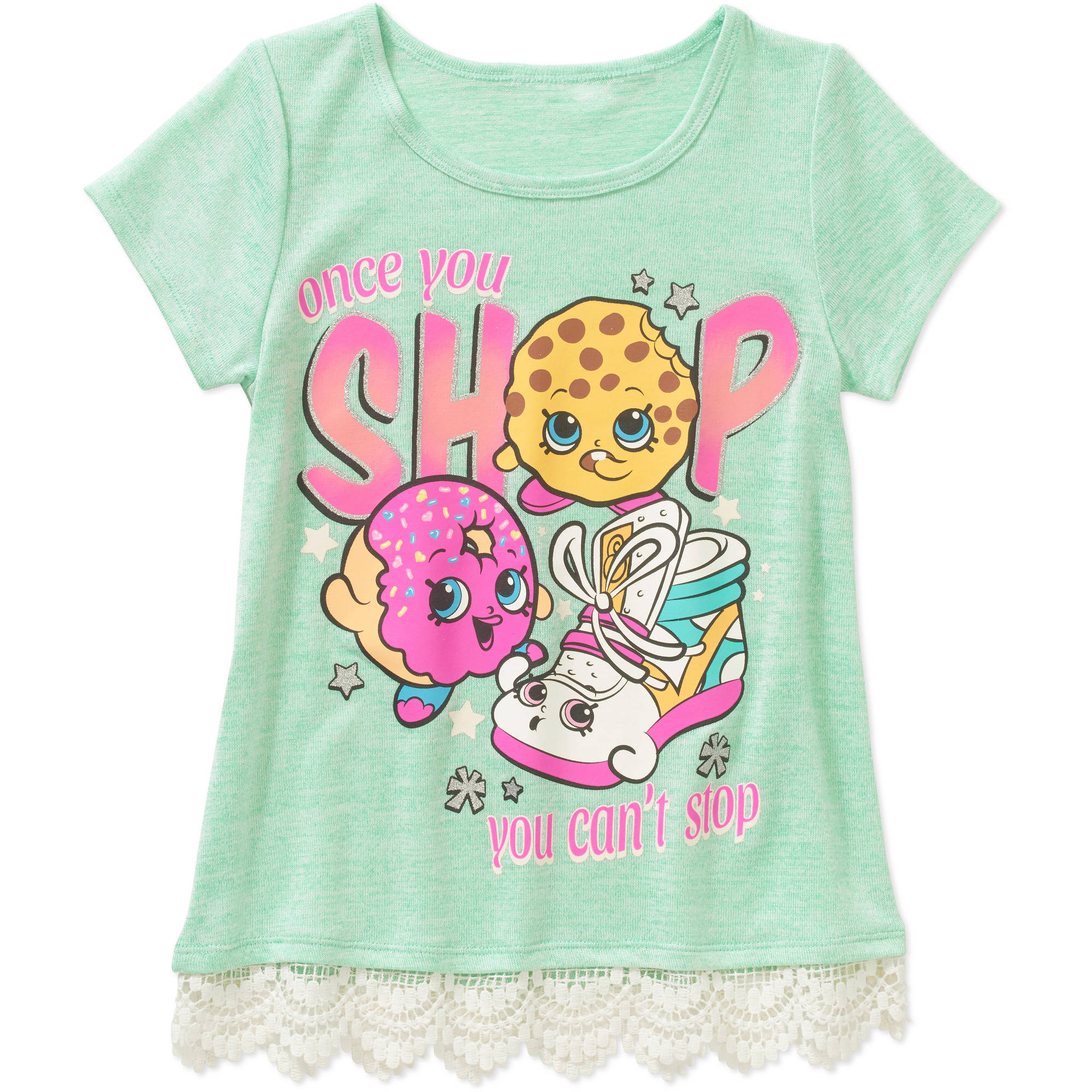 Shopkins Girls' Once You Shop Short Sleeve Scoop Neck Top with Crochet Hem