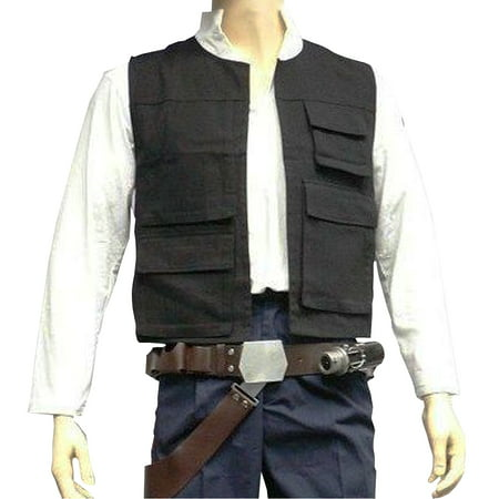 Han Solo Vest Adult Costume Star Wars Harrison Ford Movie Black New Hope Cosplay - Adult Cosplay Pics