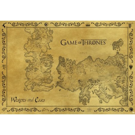 Game Of Thrones Antique Map Westeros Essos HBO Medieval Fantasy TV Television Series Poster - 39x27
