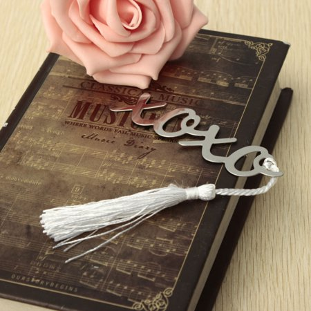 1x Stainless Steel Silver XOXO BOOKMARK Tassels Page Marker Ribbon Box Best Gift - image 4 of 4