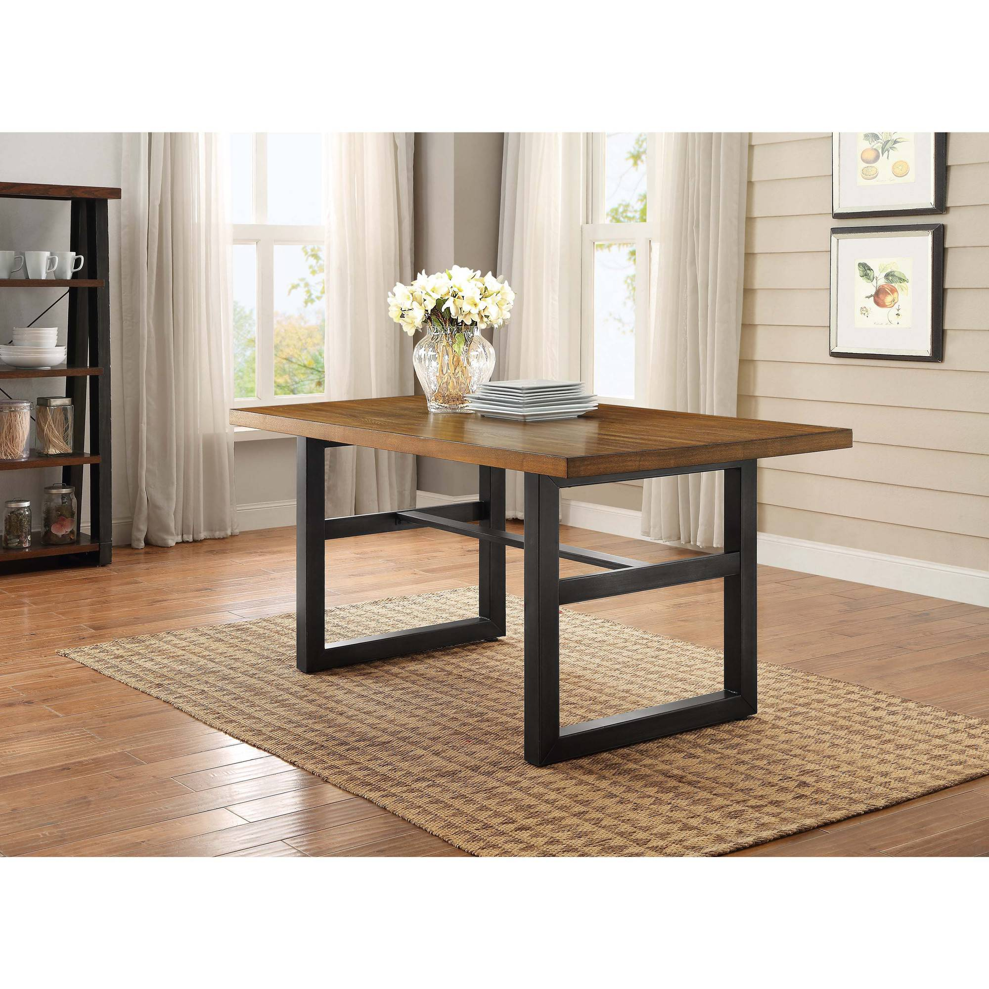 better homes and gardens mercer dining table vintage oak finish walmart com - Walmart Kitchen Tables