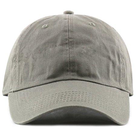 MIRMARU Plain Stonewashed Cotton Adjustable Hat Low Profile Baseball Cap.(Olive)
