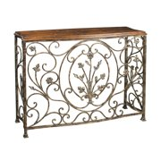 Sterling Floral Scroll Console Table in Iron and Walnut