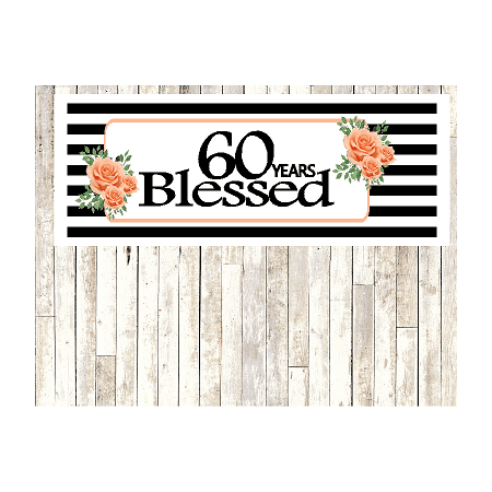 Number 60- 60th Birthday Anniversary Party Blessed Years Wall Decoration Banner 10 x 50inches - Sixty Birthday Decorations