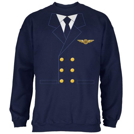 Halloween Airline Airplane Pilot Navy Adult Sweatshirt (The Halloween Party Poirot)
