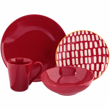 Baum Red Dashed Lines Stoneware 16-Piece Dinnerware Set