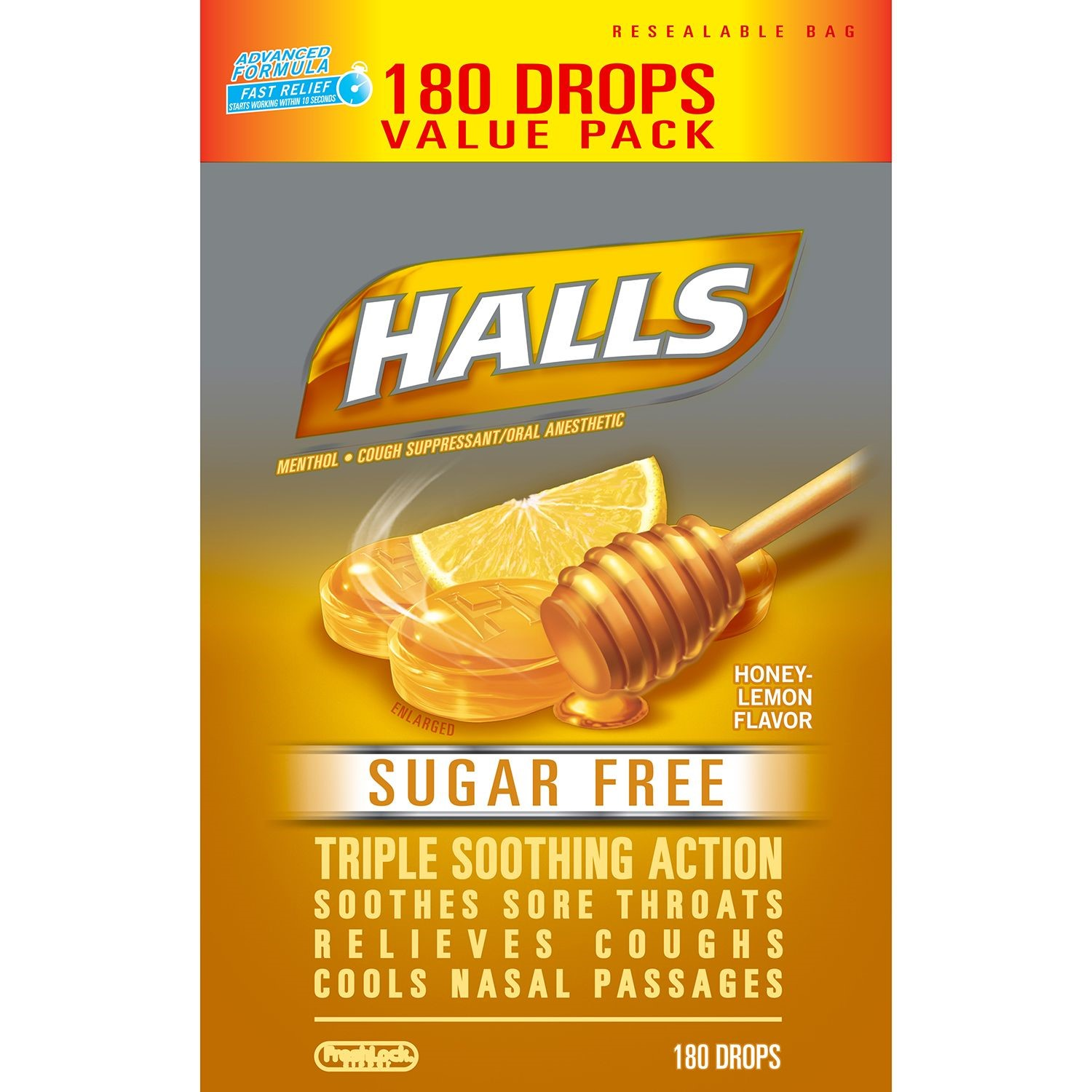 Halls Sugar Free Cough Drops, Honey Lemon, 180 Ct
