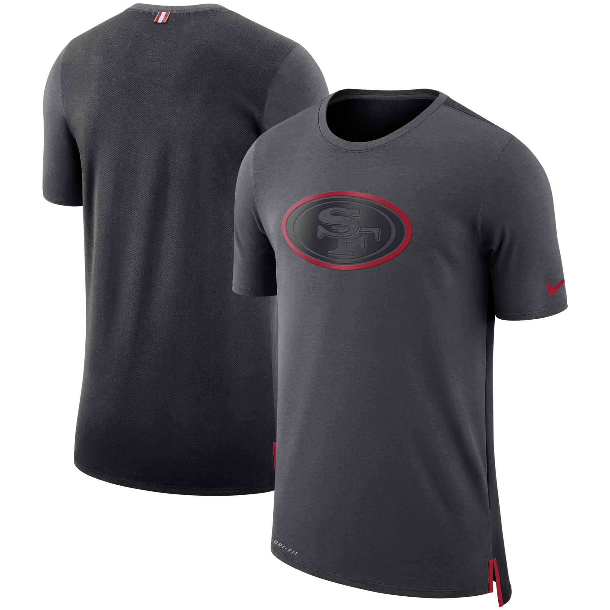 San Francisco 49ers Nike Sideline Travel Mesh Performance T-Shirt - Charcoal/Black - S