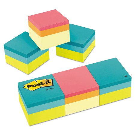 Post It Notes Cube  2 In X 2 In  Green Wave And Canary Wave Color Collections  400 Sheets Cube  3 Pack