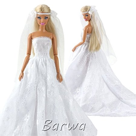 Barwa Wedding Dress with Veil White Princess Evening Party Clothes Wears Dress Outfit Set for Barbie Doll