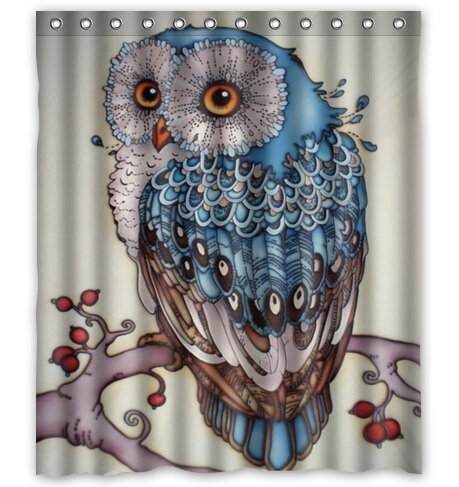 HelloDecor Owl Shower Curtain Polyester Fabric Bathroom Decorative Curtain Size 66x72 Inches