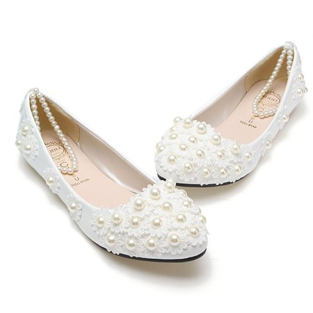 Lace Wedding Shoes.Chic Women White Lace Wedding Shoes Pearls Ankle Strap Bridal Flats Pointed Slip On Shoes