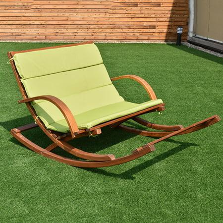 Costway Patio Wood 2 Person Rocking Lounge Chair Wood Slat Porch Furni W/Green Cushion