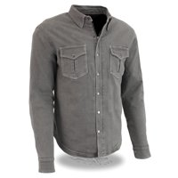 Men's Grey Armored Denim Biker Shirt w/ Aramid® by DuPont? Fibers