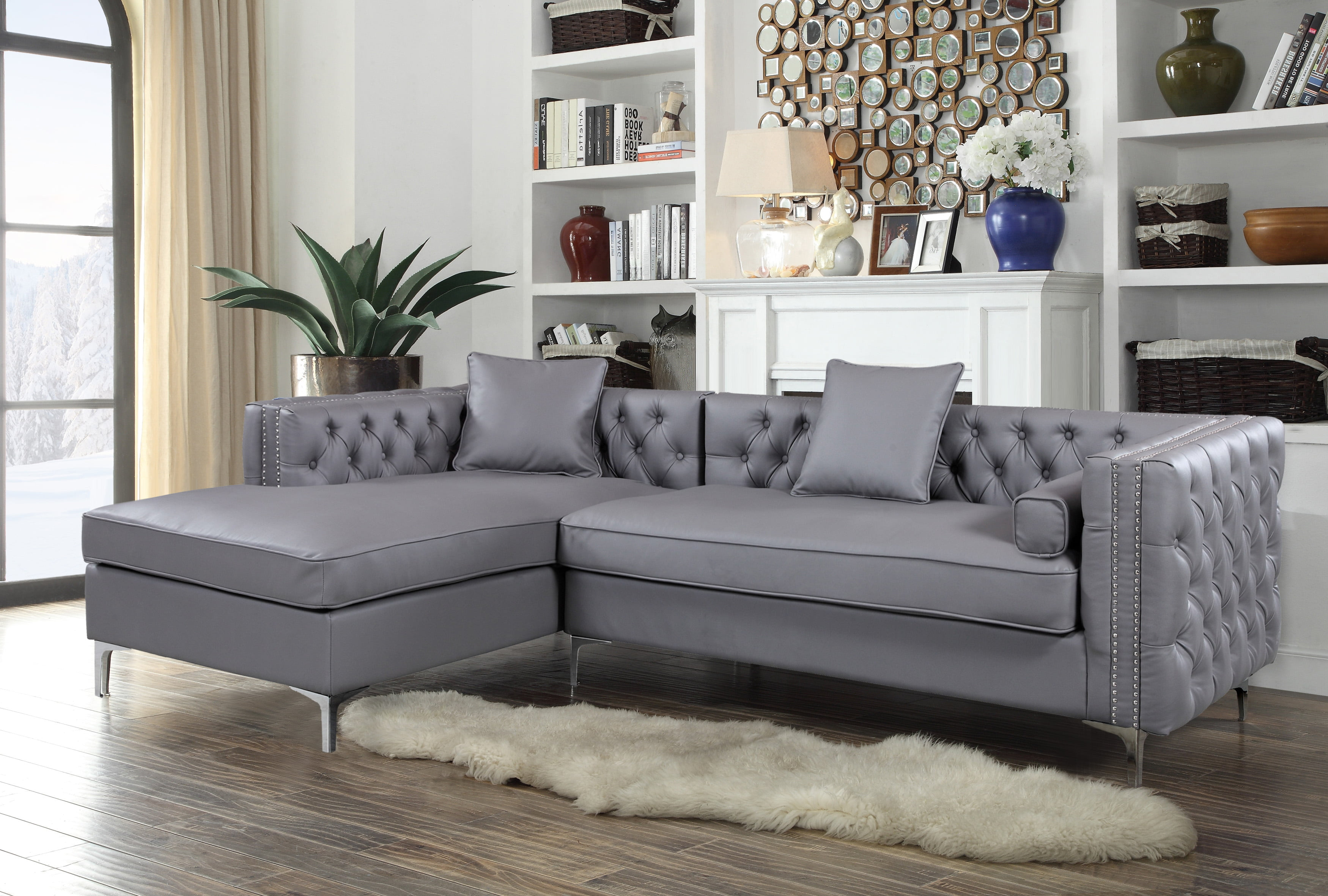 Chic home monet pu leather modern contemporary button tufted with silver nail head trim silver tone metal y leg left facing sectional sofa grey walmart