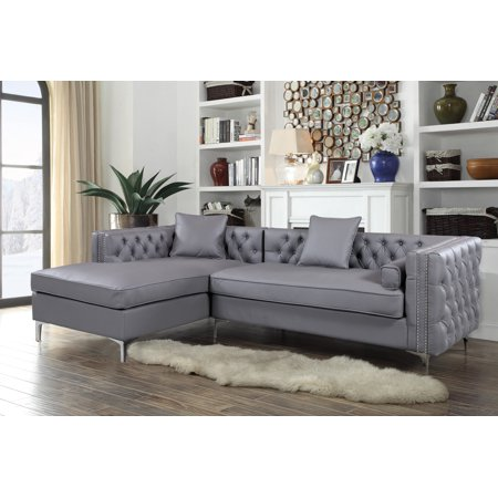Chic Home Monet Pu Leather Modern Contemporary Button Tufted With Silver Nail Head Trim Silver Tone Metal Y Leg Left Facing Sectional Sofa Grey