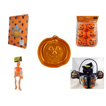 Halloween Fun Gift Bundle [5 Piece] -  Ghost Pumpkin Push In 5 Piece Head Arms Legs - Party Favors Pumpkin Candy Containers 6 Count - Wilton Iridescents Jack-O-Lantern Pan - Hanging Skeleton Orange - Halloween Jack In The Box Head