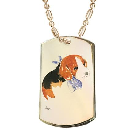 KuzmarK Gold Pendant Dog Tag Necklace - Beagle Puppy with Blue Bandana Dog Art by Denise Every Gold Dog Tag Necklace - Gold Bandanas